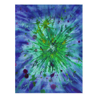 Blue and green starburst abstract art postcard