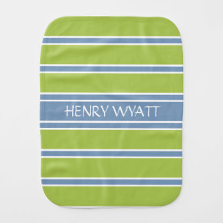 Blue and Green Stripe Personalized Burp Cloth