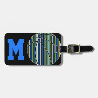 Blue and Green Striped Basketball Design Luggage Tag