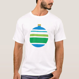 Blue and Green Striped Ornament Christmas T-Shirt