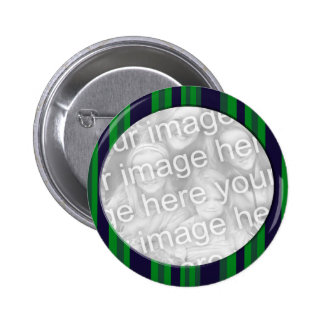 Blue and Green Striped photo frame 6 Cm Round Badge