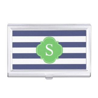 Blue and Green Stripes Monogrammed Business Card Holder