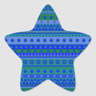 Blue and Green Stripy Stars and Spots Pattern Stickers