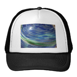 Blue and Green Swirls in the Round Mesh Hat