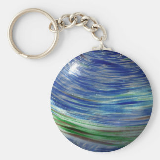 Blue and Green Swirls in the Round Basic Round Button Key Ring