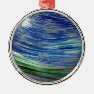 Blue and Green Swirls in the Round Silver-Colored Round Decoration