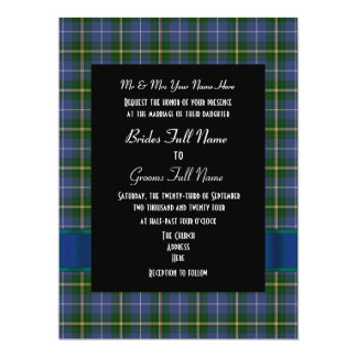 Blue and green tartan plaid formal wedding 17 cm x 22 cm invitation card