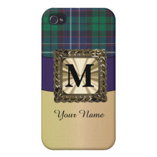 Blue and green tartan plaid monogram iPhone 4/4S cover
