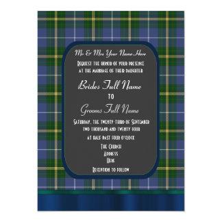 Blue and green tartan plaid wedding card