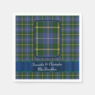 Blue and green tartan plaid wedding disposable serviettes