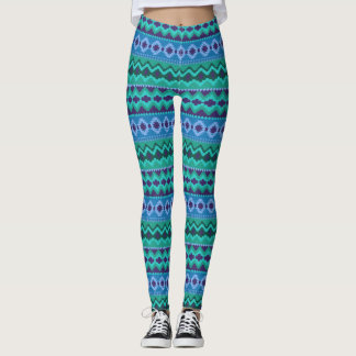 Blue and Green Tribal Pattern Leggings