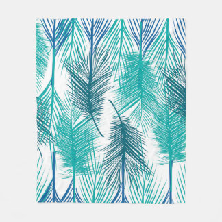 Blue and green tropical palm leafs. Trendy print Fleece Blanket
