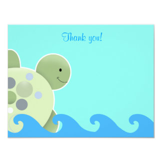 Blue and Green Turtle Flat Thank you note Card