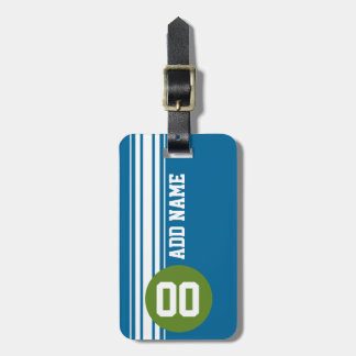 Blue and Green Vintage Racing Stripes Tags For Luggage