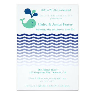 Blue and Green Whale Baby Shower Card
