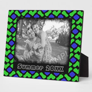 Blue and Green Wicker Style Pattern Add Your Photo Plaque