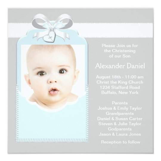 Blue and Grey Baby Boy Photo Christening Card