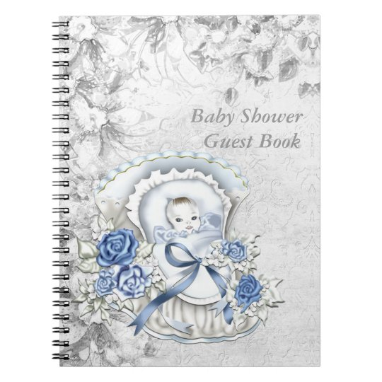 Blue and Grey Baby Shower Guest Book