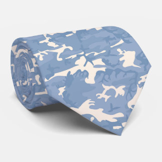 Blue and Grey Camo Patterned Tie
