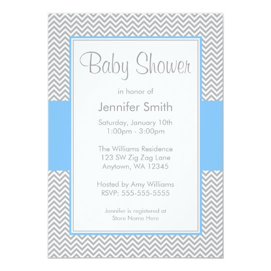 Blue and Grey Chevron Baby Shower Invitations