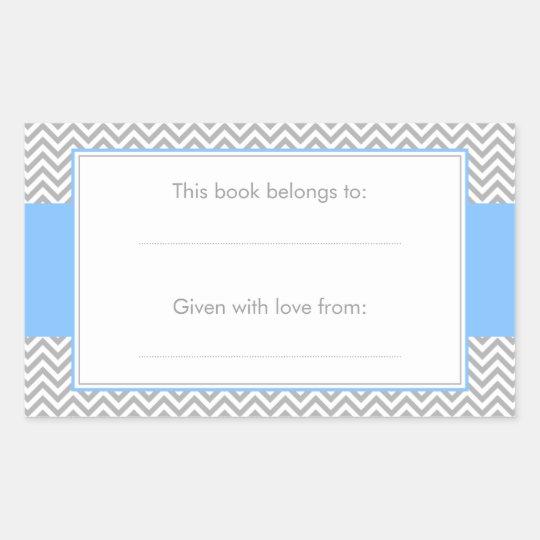 Blue and Grey Chevron Pattern Bookplate Sticker