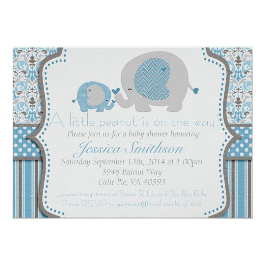 Blue and Grey Elephant Baby Shower Invitation