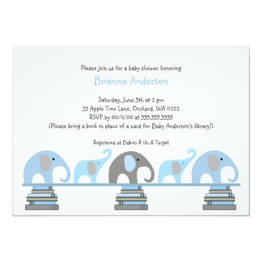 Blue and grey Elephants Book Baby Shower Invite
