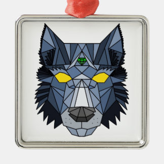 Blue and Grey Geometric Wolf Design Christmas Ornament