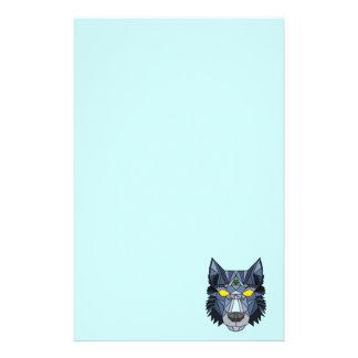 Blue and Grey Geometric Wolf Design Custom Stationery