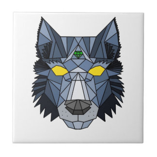 Blue and Grey Geometric Wolf Design Tile