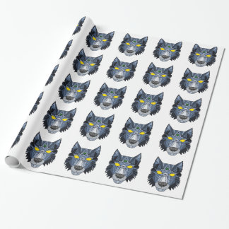 Blue and Grey Geometric Wolf Design Wrapping Paper