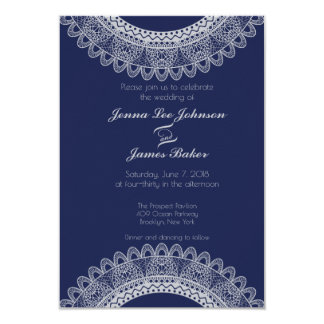 Blue and Grey Lace Wedding Invitation
