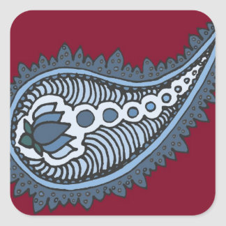Blue and grey lotus paisley red background stickers
