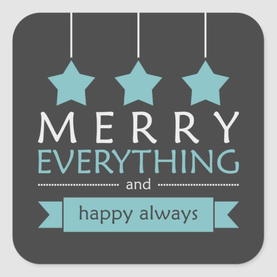 Blue and Grey Merry Everything Holiday Square Sticker