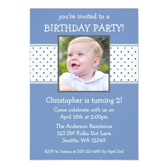 Blue and Grey Polka Dot Boy Photo Birthday