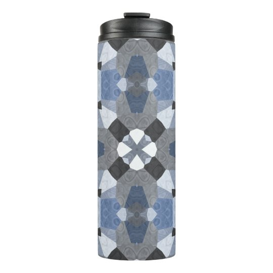 Blue and grey quilt pattern on thermal tumbler
