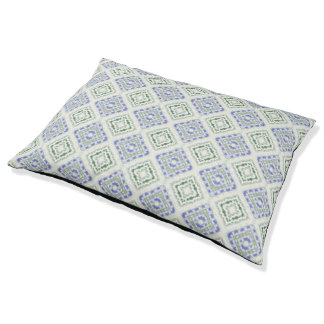 Blue and grey repeating diamonds pet bed