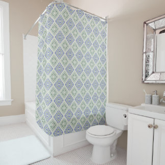 Blue and grey repeating diamonds shower curtain