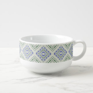 Blue and grey repeating diamonds soup mug