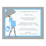 Blue And Grey Shopper Baby Shower Invitation