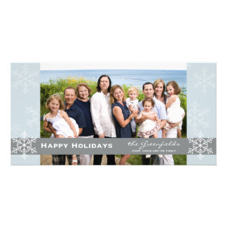 Blue and Grey Snowflake Holiday Card Custom Photo Card