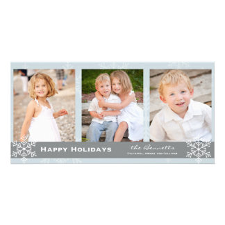 Blue and Grey Snowflake Holiday Card Personalised Photo Card