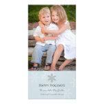 Blue and Grey Snowflake Holiday Card Personalised Photo Card