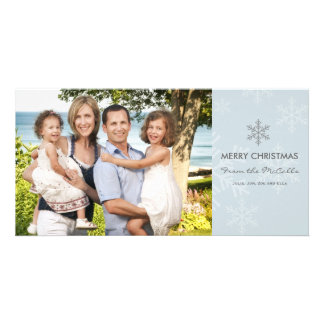 Blue and Grey Snowflake Holiday Card Photo Greeting Card