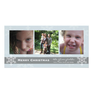 Blue and Grey Snowflake Merry Christmas card Customised Photo Card