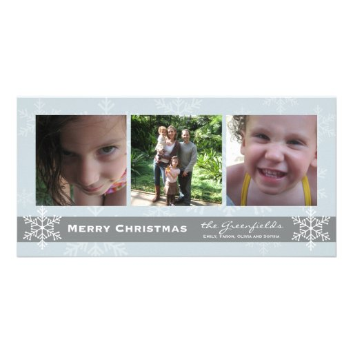 Blue and Grey Snowflake Merry Christmas card Photo Greeting Card