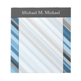 Blue and Grey Stripes + Custom Name Notepad