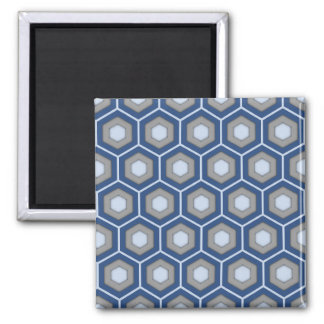 Blue and Grey Tiled Hex Square Magnet