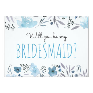 blue and grey watercolor flowers bridesmaid card