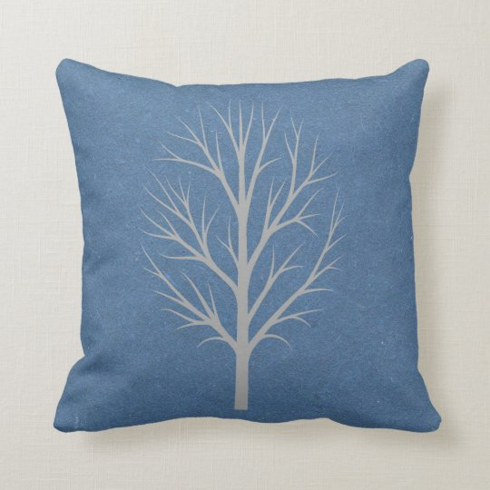 Blue and Grey Winter Tree Throw Pillow